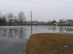 Parking lot and boat ramp flooded at high tide in Cupola Park ... Millsboro, DE