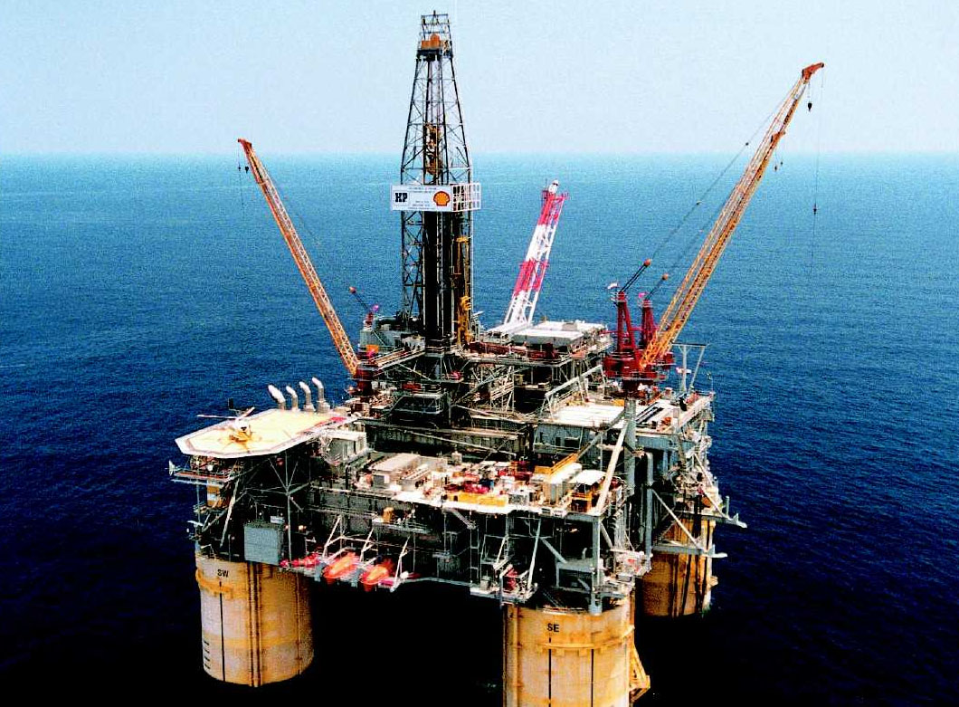 Oil drilling platform in the ocean