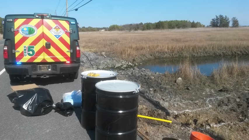 DNREC, emergency response team, 1-800-662-8802., report a spill to DNREC, long neck rd, delaware, sussex county, white house beach slough
