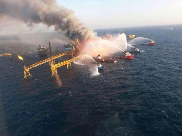 Oil rig fire in Gulf of Mexico today, drill baby drill