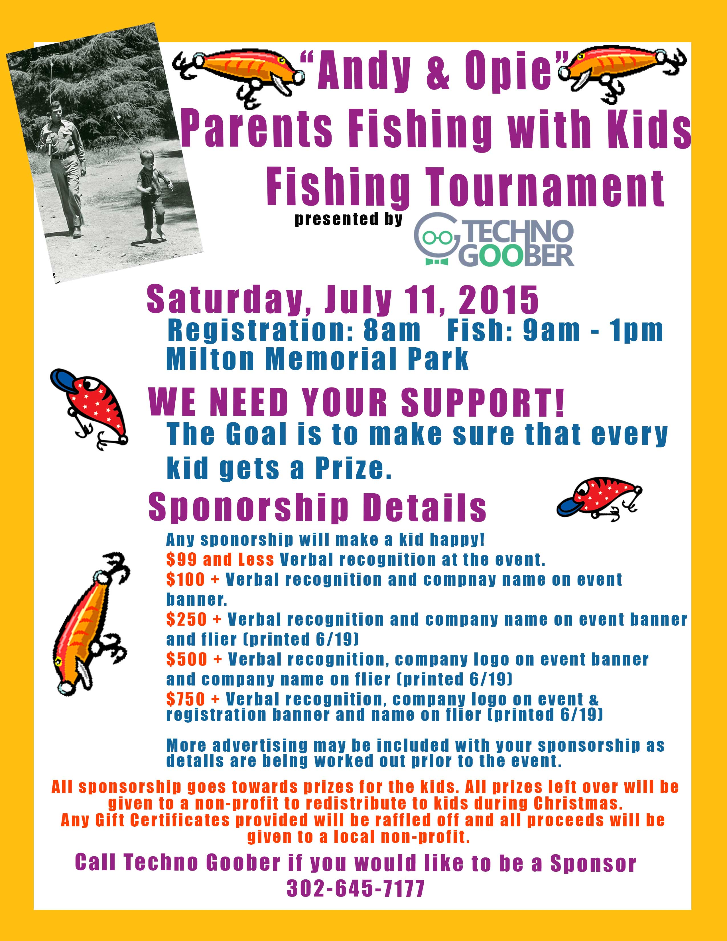 """""""Andie & Opie"""" Parents Fishing with kids Tournament, milton, delaware"""