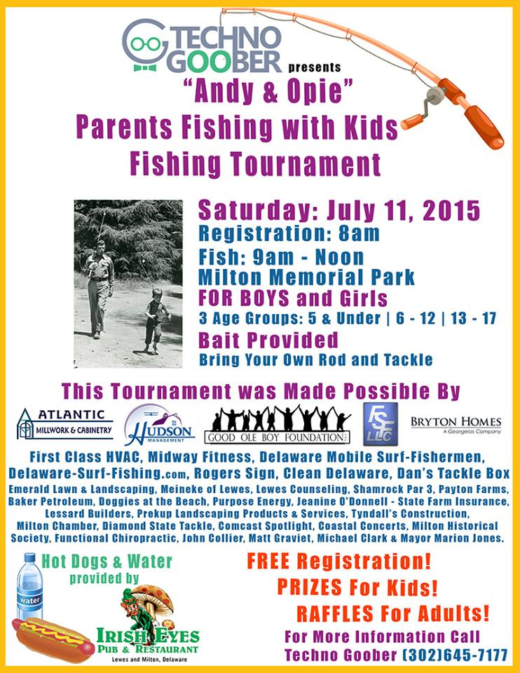"""Andy & Opie"" Parents Fishing with Kids Fishing Tournament,milton, delaware, sussex county"