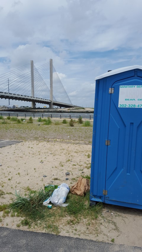 trash in state parks, port a jons, indian river inlet, carry in carry out,