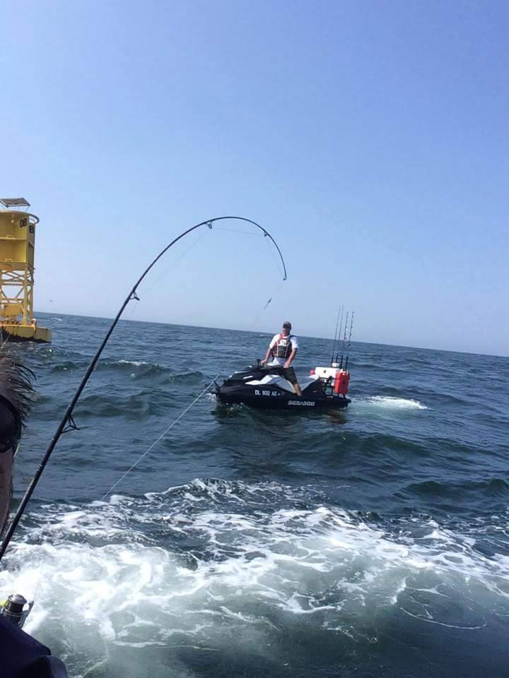 jet ski fihsing, delaware, sussex county, db buoy, delaware bay, offshore fishing, flounder pounding, sea doo fishing,