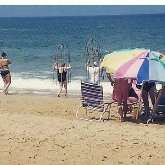 beach shark cages, outer banks,