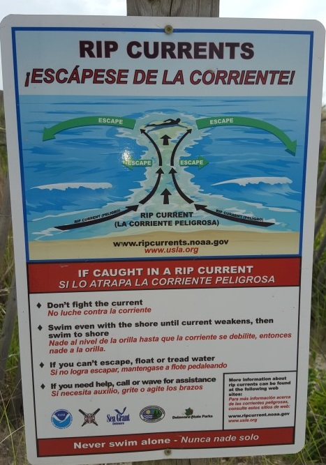 rip current advisory, danger signs, delaware beaches, sussex county,state parks, town beaches