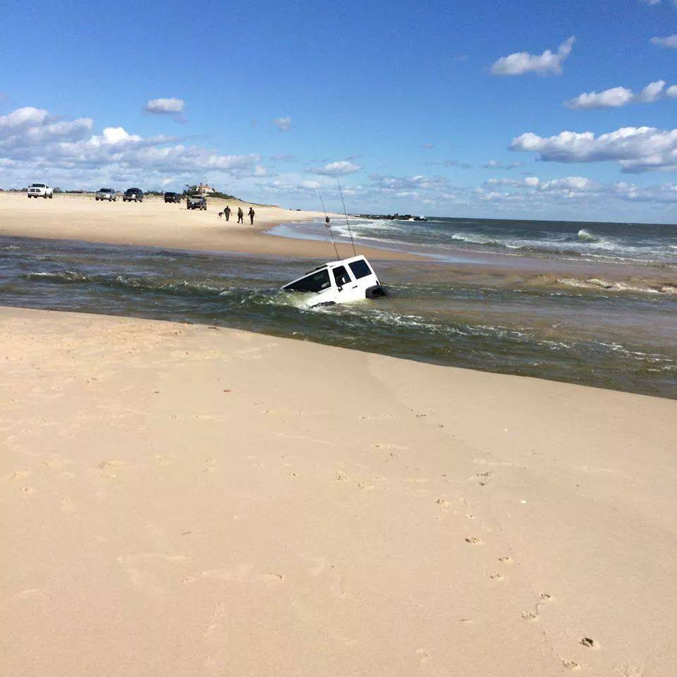 Do not drive through tide pools delaware surf for Surf fishing nj license