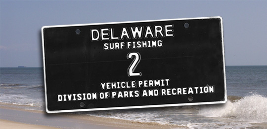 delaware surf fishing numbered tag, sussex county, state parks,