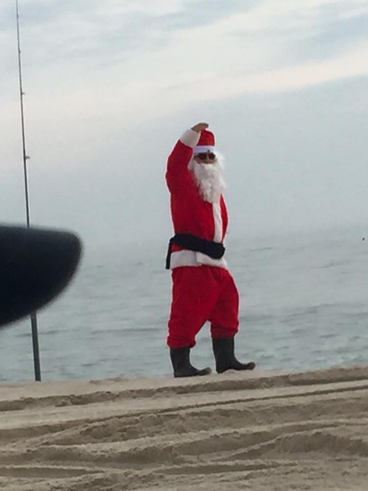 santa surf fishing, delaware, sussexcounty, new jersey, beach fishing, merry christmas, saint nick can fish,
