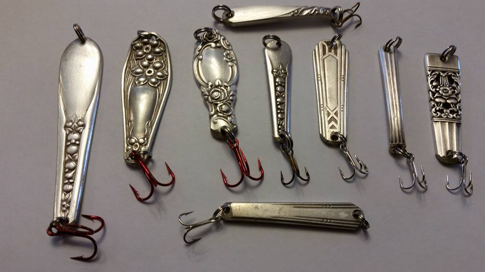 hokins, silver spoons, jigs, butter knife handle jigs,