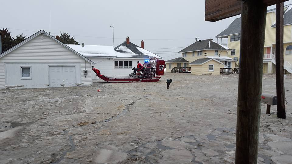 air boat, rescue, south bowers beach, delaware, sussex county, blizzard 2016