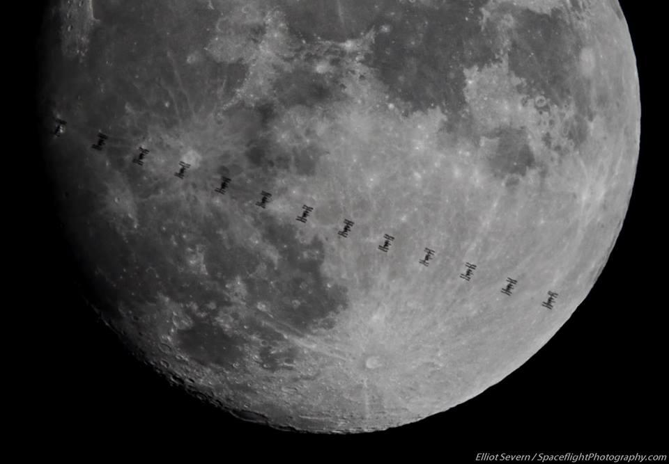 internation space station, moon background, january full moon