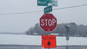 Detour sign at Mount Joy and Hollyville Rd.